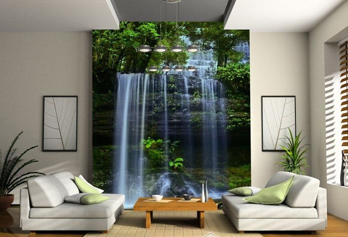 Водопад на фотообоях в зале
