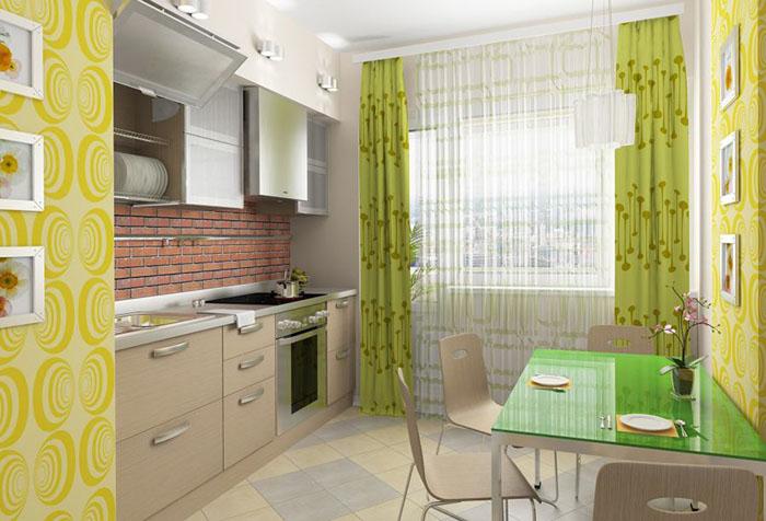 Зеленые шторы и желтые стены на кухне