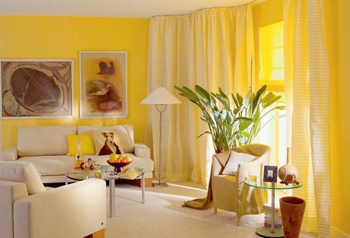 Простые шторы к желтым обоям