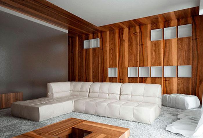 Отделка деревянными панелями гостиной