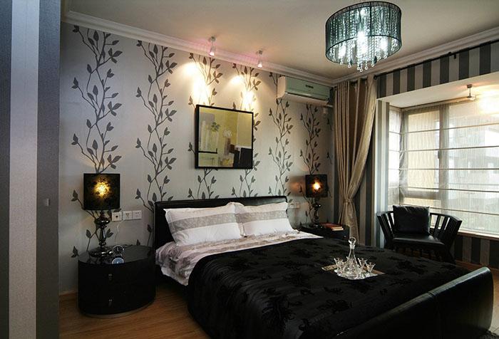 Текстильные обои в декоре спальни