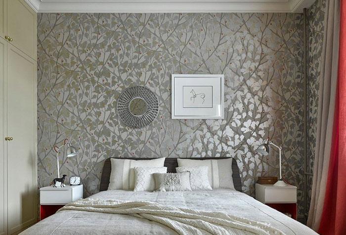 Бесшовные текстильные обои в спальне