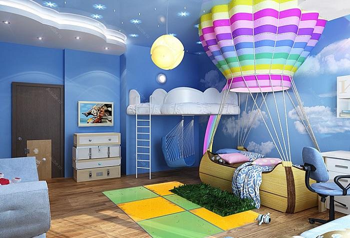 детская комната с рисунком воздушного шара