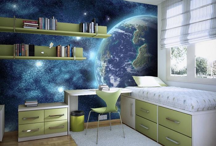 обои с изображением космоса в детской