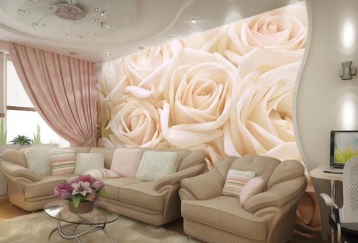 3d обои в гостиной с изображением роз