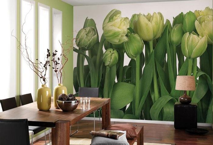 обои цветы зеленые тюльпаны