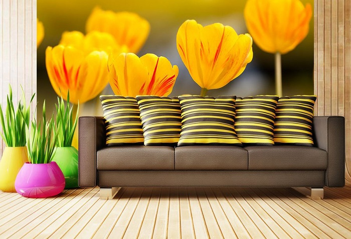 обои цветы желтые тюльпаны