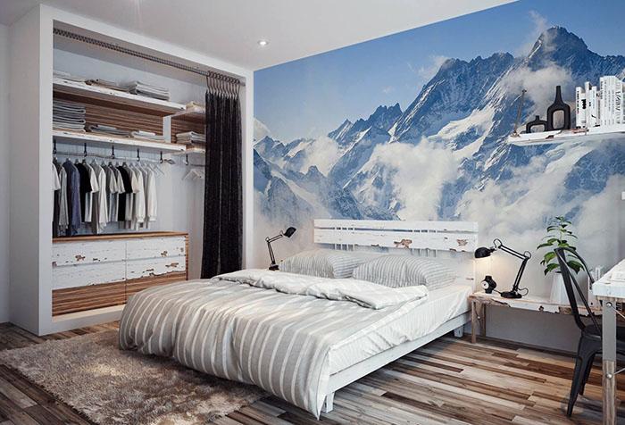Фотообои с горным пейзажем в спальне