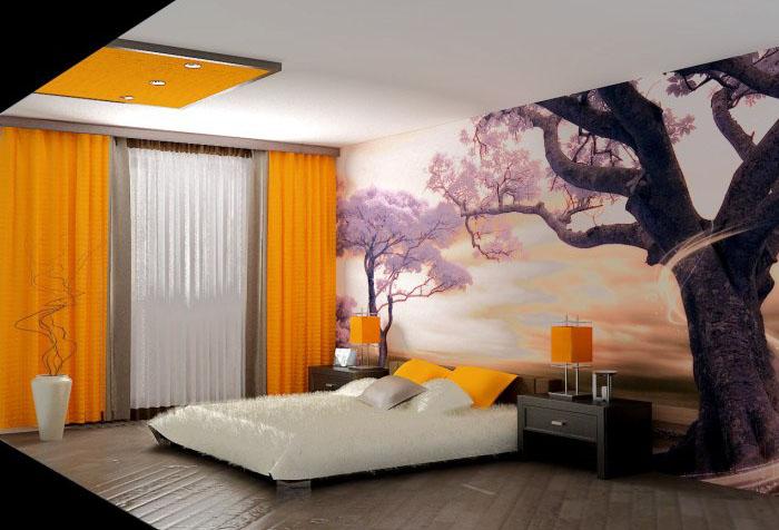 Фотообои с закатом в спальне
