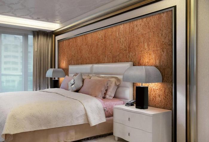 Пробковые обои в интерьере спальни