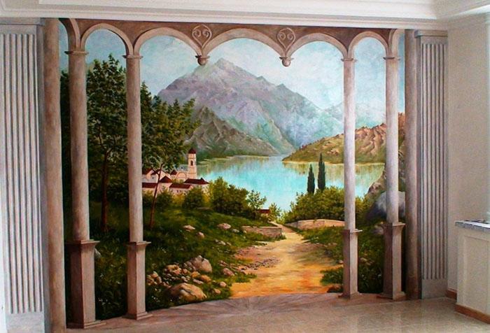 Акриловая роспись-обманка в интерьере