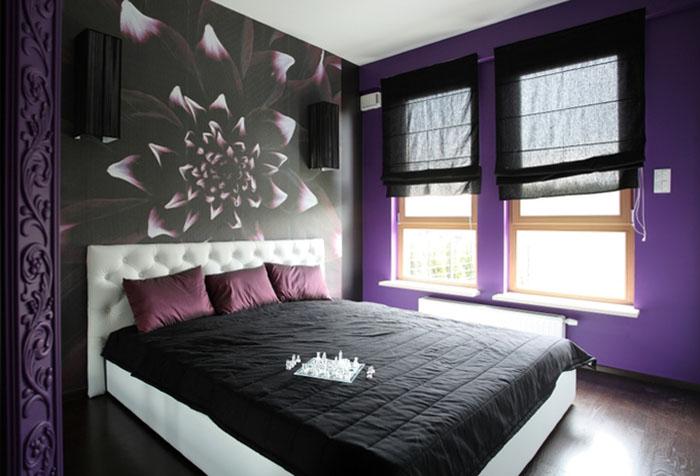 Черно-фиолетовые обои в спальне