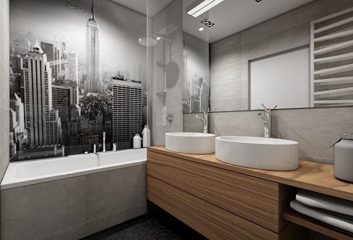 Черно-белые фотообои в ванной