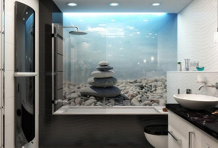 Фотообои с камнями в ванной