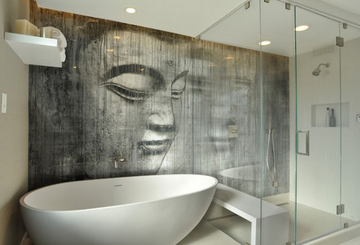 Необычные фотообои в ванной