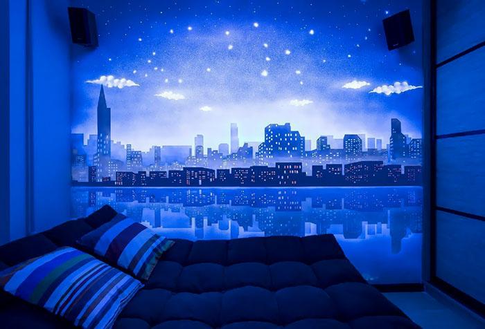 Оформление спальни флуоресцентными обоями